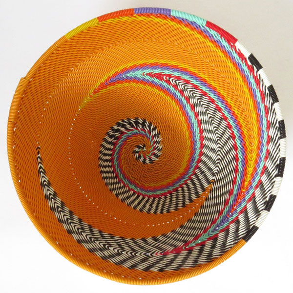 African Zulu woven telephone wire bowl – Medium round – Orange and multicolour