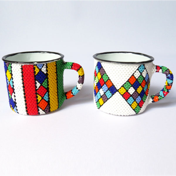 African Zulu beaded Mug – Set of 2 mugs