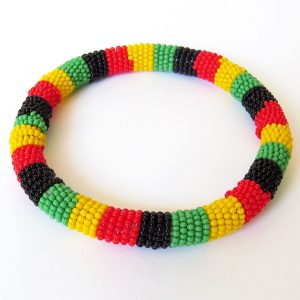 African Zulu beaded round bracelet - Rasta colours