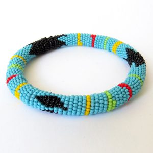 African Zulu beaded round bracelet - Light Blue