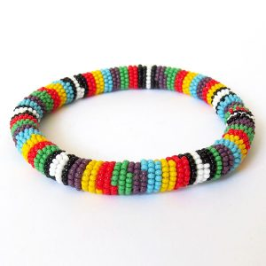 African Zulu beaded round bracelet - Multicolour TWO (Purple)