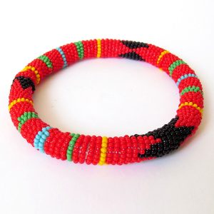 African Zulu beaded round bracelet - Red