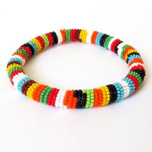 African Zulu beaded round bracelet - Multicolour THREE (Orange)