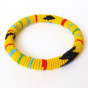 African Zulu beaded round bracelet - Yellow