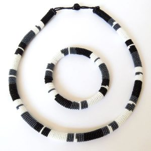 African Zulu beaded necklace and round bracelet set - Black/White/Gunmetal