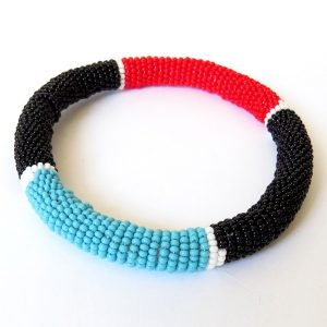African Zulu beaded round bracelet - Black/Red/Blue