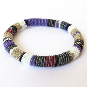 African Zulu beaded round bracelet - Purple/White/Gunmetal
