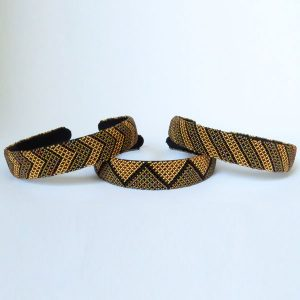 African Zulu beaded wide Alice band – Gold/Bronze/Brown
