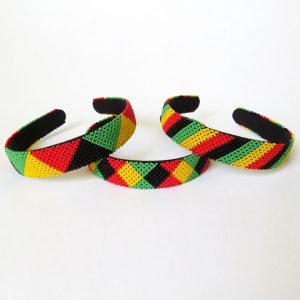 African Zulu beaded wide Alice band – Rasta Colours