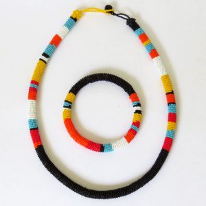 African Zulu beaded necklace and round bracelet set –Black and multicolour/orange