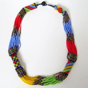 African Zulu beaded short necklace – Multicolour with Light Blue