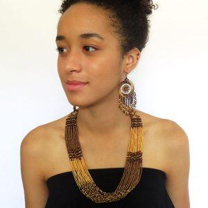 African Zulu beaded multistrand necklace - Gold/Bronze/Brown