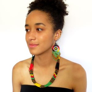African Zulu beaded short necklace – Rasta Colours