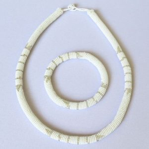African Zulu beaded necklace and round bracelet set - Cloud Collection