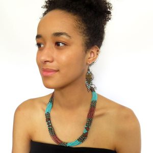 African Zulu beaded short necklace – Bronze and Turquoise