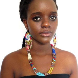 African Zulu beaded short necklace – Gold/Pink/Red/Blue