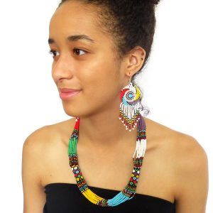 African Zulu beaded short necklace – Multicolour with Purple