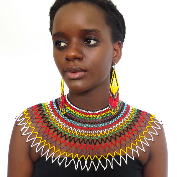 Traditional African Zulu wedding necklace beaded, oversized necklace, statement piece – Multicolour with Black