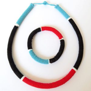 African Zulu beaded necklace and round bracelet set - Black/Red/Blue