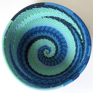 African Zulu woven telephone wire bowl – Extra small round – Blue