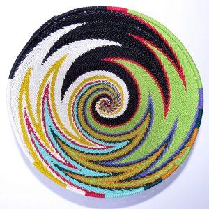 African Zulu woven telephone wire bowl – Medium round – Multicolour