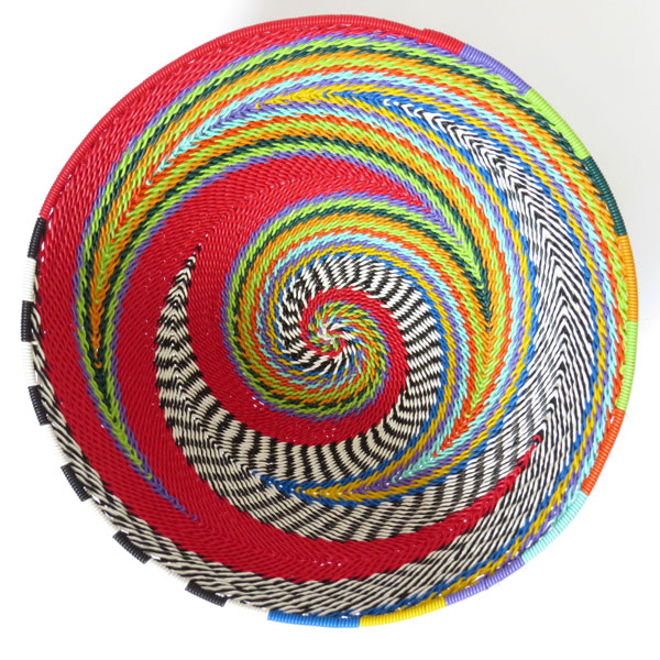 African Zulu woven telephone wire bowl – Medium round – Red and multicolour