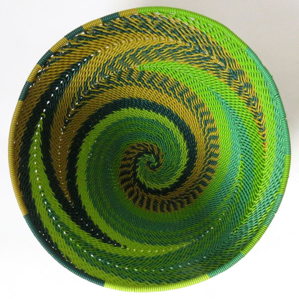 African Zulu woven telephone wire bowl – Small round – Green