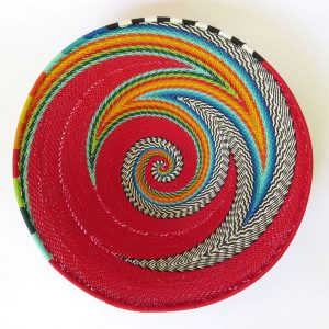 African Zulu woven telephone wire bowl – Medium shallow bowl – Red and multicolour