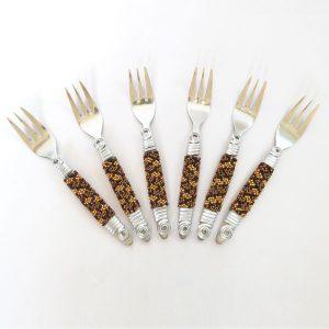 African Zulu beaded cake forks, set of 6 – Gold/bronze/brown