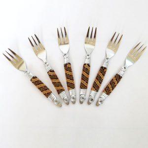 African Zulu beaded cake forks, set of 6 – Gold/bronze/brown stripes