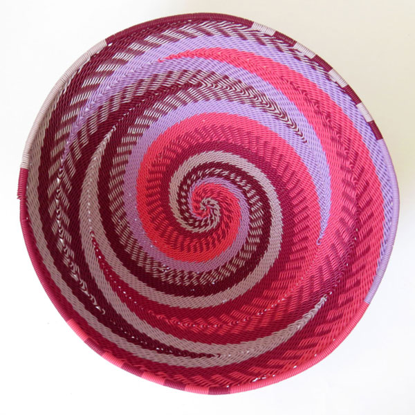 African Zulu woven telephone wire bowl – Large round – Pink