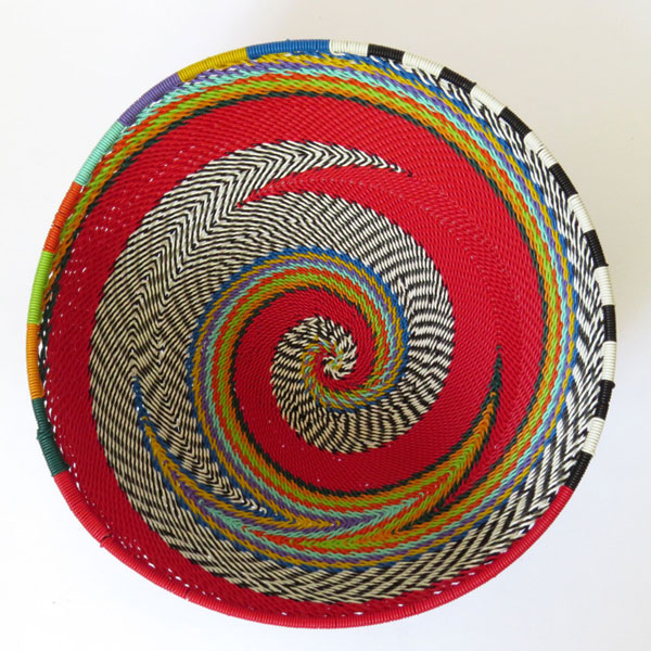 African Zulu woven telephone wire bowl – Large round – Red and multicolour