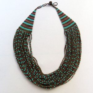 African Zulu beaded cascade necklace - Bronze and turquoise