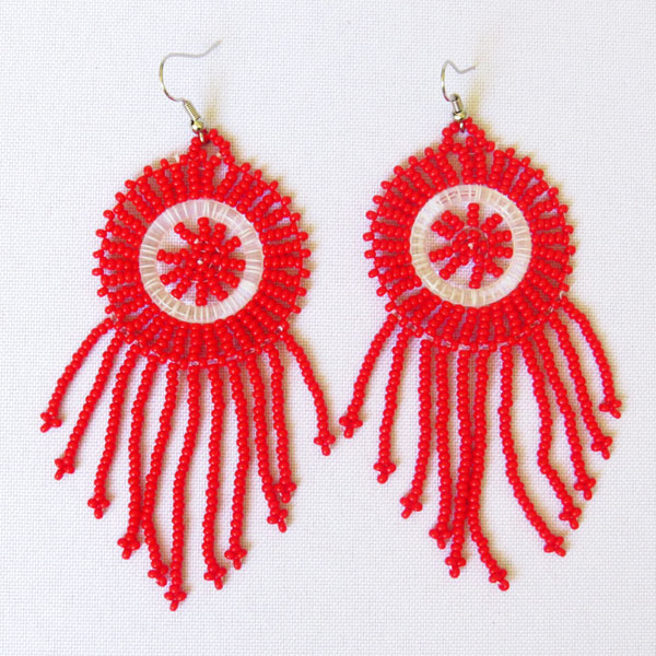 African Zulu beaded earrings - Dreamcatchers (Small) – Red
