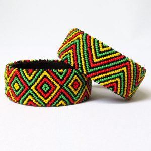 African Zulu beaded large bangle – Rasta colours
