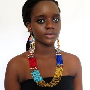 African Zulu beaded multistrand necklace - Gold/red/blue