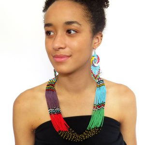 African Zulu beaded multistrand necklace - Multicolour
