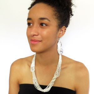 African Zulu beaded short necklace – Cloud collection