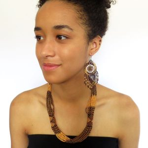 African Zulu beaded short necklace – Gold/bronze/brown