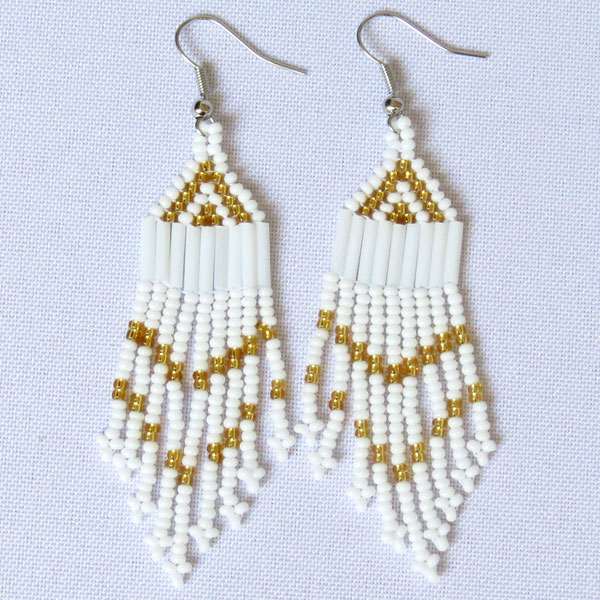 African Zulu beaded earrings - Chandelier NEW DESIGN - White and gold