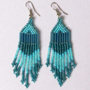 African Zulu beaded earrings - Chandelier NEW DESIGN - Sky collection