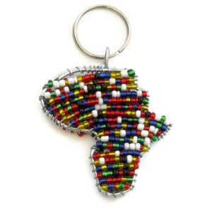 Beaded map of Africa - keychain, keyring, purse jewelry, handbag charm - Multicolour