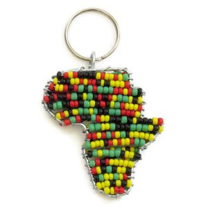 Beaded map of Africa - keychain, keyring, purse jewelry, handbag charm - Rasta colours