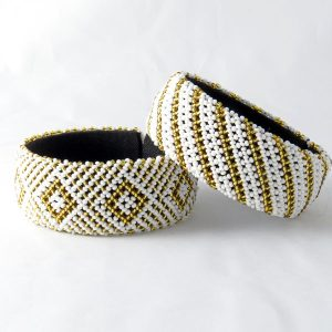 African Zulu beaded large bangle – White and gold