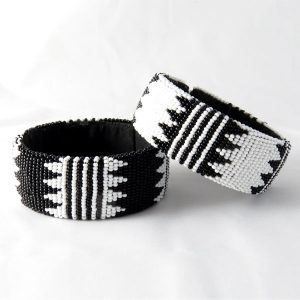 SPECIAL OFFER!! Set of 2 African Zulu beaded large bangles – Black and White - Set #2