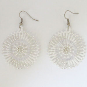 African Zulu beaded earrings - Small Disc - Cloud collection